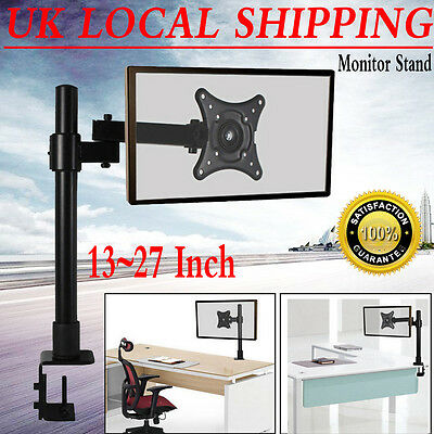 """Single Arm LCD LED Monitor Desk Stand Mount Bracket for 13-27"""" Screens Free Post"""