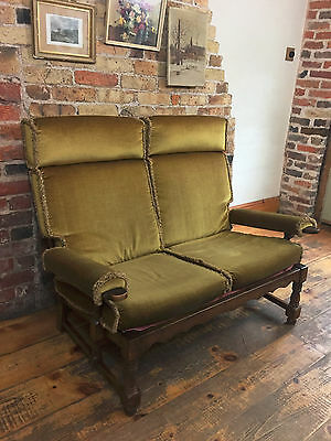Vintage Retro Mid-Century Wooden Frame Settee Sofa 2 Seater, Wonderful Condition