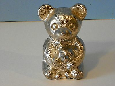 Godinger silver plated teddy bear with cub bank