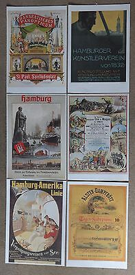 A selection of 6 vintage German Posters from Hamburg 1880 to 1910