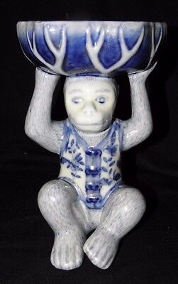 CHINESE Blue & White Porcelain Monkey sitting Holding a Basket on His Head~8 1/2