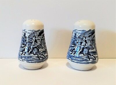 Vintage Blue and White Salt & Pepper Set - Paul Revere's Ride