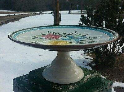 Stangl,Trenton NJ ,Country Garden,Footed Cake Stand ,Tray, hand Painted. Pottery