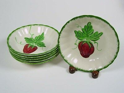 "Blue Ridge ""Wild Strawberry"" - Six(6) - 5 1/4"" Berry Bowls - No Stains - Nice!"