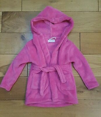 Early days hot pink fleece style bath robe dressing gown 18 24 months age hooded