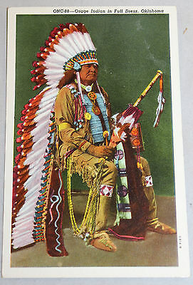 Vintage American Osage Indian In Full Dress Postcard Oklahoma News Co Unposted