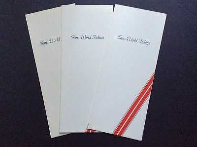 Trans World Airlines 3 Scarce Menus From 1981