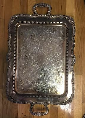 Antique British Silver Plate Serving Tray Platter