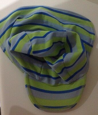 6-12 months blue stripe UV sun hat with neck protection