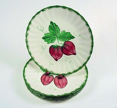 "Blue Ridge ""Wild Strawberry"" - Six(6) - 10 1/4"" Dinner Plates- No Stains - Nice!"