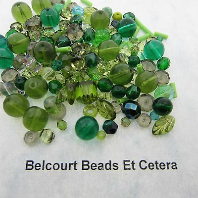 50 Czech Glass Assorted Green  Beads Mixed shapes and Sizes Glass 3-10mm