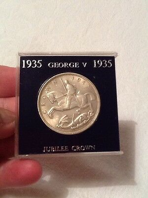 "1935 George V ""Rocking Horse"" Silver Crown - Nice Coin - Cased"
