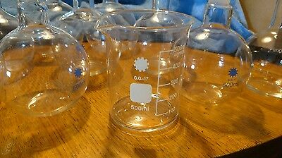 Glass boiling flask  Auction Lot sale Lab Glass  New Lab glass 9-500ml flasks