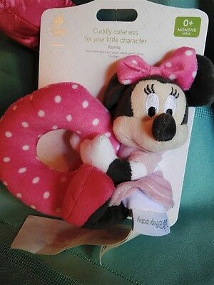Disney Store Minnie Mouse Plush Rattle for Baby, Pink and White Polka Dot, New