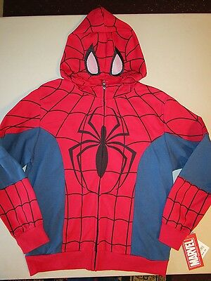 Marvel Spiderman Zip-Up Masked Hoodie Size Large New With Tags