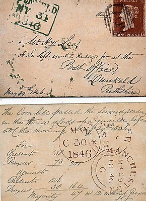 QUEEN VICTORIA PENNY RED STAMP ON POSTCARD 1846 SEVERAL CANCELLATIONS repro