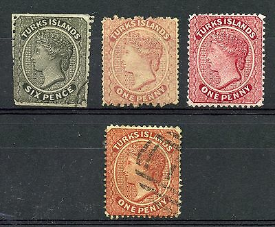 Weeda Turks Islands 2, 4, 45, 1var? Mint & Used quartet, scarcer CV $199.75