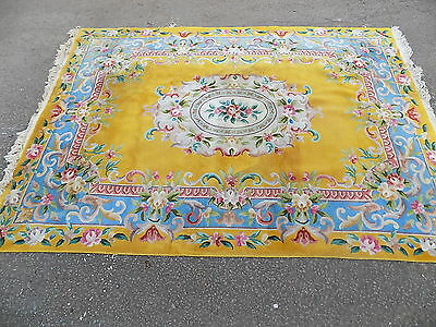 vintage,large,room size,11' x 8',carpet,rug,yellow,blue,wool,thick,large rug