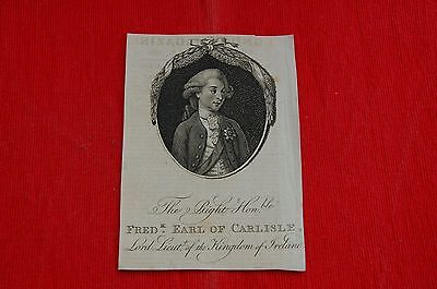 Copperplate Engraving Right Hon. Frederick Earl of Carlisle London Magazine 1780