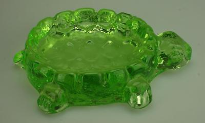 Vaseline or Uranium Glass Turtle Soap Dish or Paperweight VG29