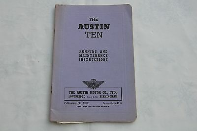 The  Austin Ten Running and Maintenance Instructions 1946