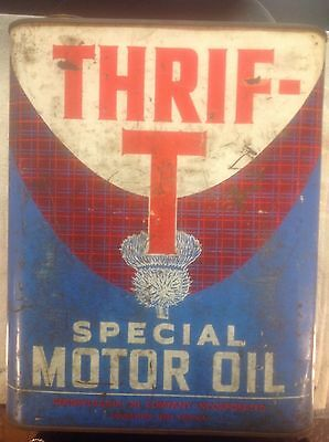 RARE VINTAGE Thrif-T Special Motor Oil 2 Gallon Oil Can - Charleston WV.