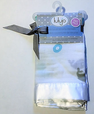 "Lulujo Baby Muslin Cotton Security Blankets, Baby Whale, 2 Count, 16"" x 16"""