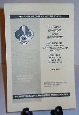 """Survival, Evasion, And Recovery Manual """"june 1999"""" 50 Pages W/drawings, New!"""
