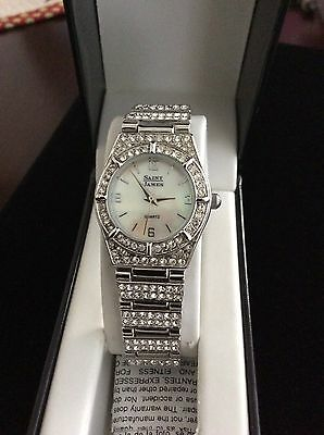 Saint James Crystal Watch Mother Of Pearl Face