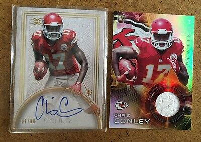 Lot Of 2 Topps 2015 Chris Conley RC Auto & GU Jersey (Serial #)