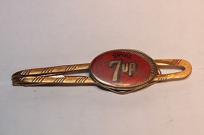 Vintage 7-UP EnamelTie Bar Clip Gold Color