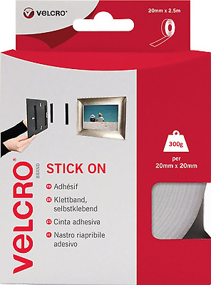 VELCRO Brand Stick On Hook And Loop Tape 20mm x 2.5m White No Nails Or Screws
