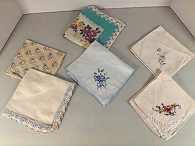 Lot 6 Vintage Lace Embroidered Crochet Floral Butterfly Handkerchief Hankies