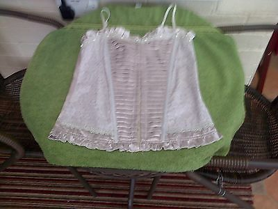 Ladies basque, satin feel with lace and pearls.size 10.Miso.Beige.