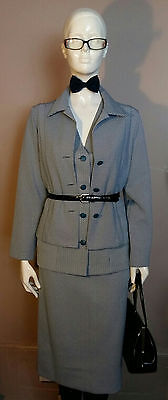 Vintage 1960's Ladies Three Piece, Blue Dogtooth Check, Skirt Suit. Size UK 12.