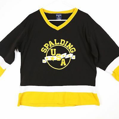 VTG Spalding Made in USA Hockey Jersey T-Shirt 80s Black Gold Mens Large 50/50