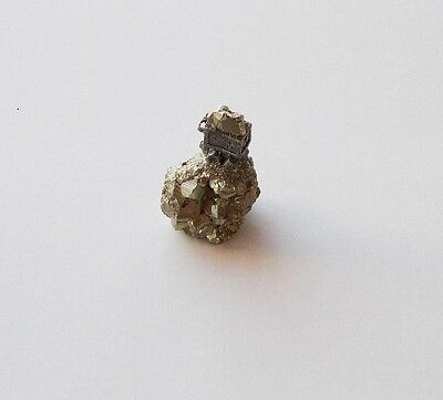 Small miniature natural Iron Pyrite Fools Gold with ore cart mine art figurine
