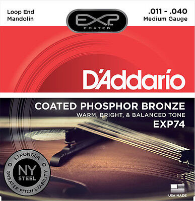 D'Addario EXP74 NY Steel Phosphor Bronze Mandolin Strings Medium Gauge .011-.040