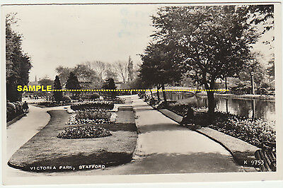 Stafford 1961 Victoria Park Real Photo Bowls, River etc. Staffordshire postcard