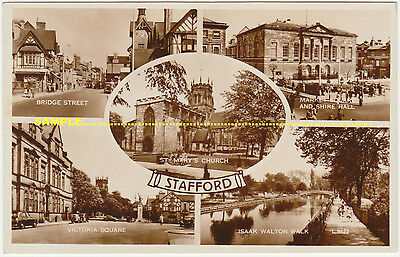 Stafford 1960 Real Photo Multiview, Street Scenes, Shire Hall, Church etc.