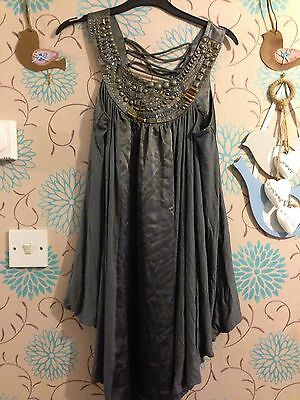 Grey Metal Dress Size 8 New With Tags