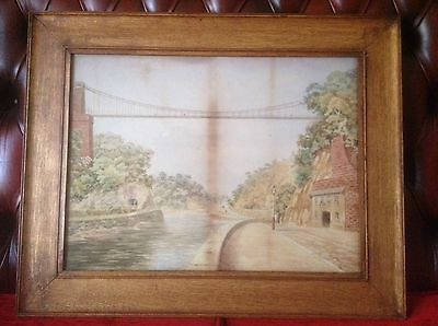 Large Victorian Oak Framed Water Colour Of Clifton Suspension Bridge