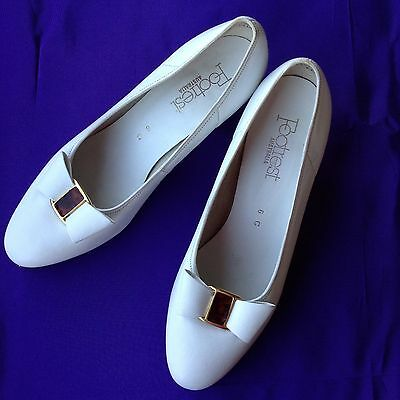 VINTAGE Footrest Size 6 All Leather Court Shoes Wedding White 50s Pin Up Classic