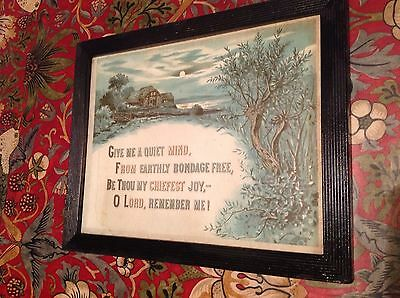 Framed Victorian Religious Print Motto