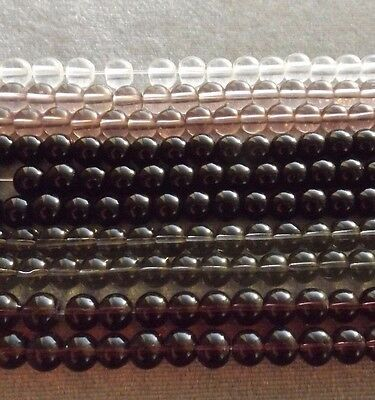 Mixed Lot Strands Round Glass Beads (10)  Black Clear Grey Plum 6 Mm