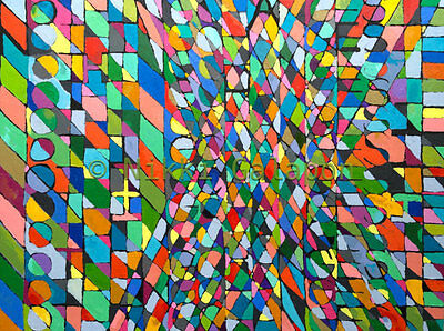 Large Abstract Original Oil Painting multi-color geometric modern art wall decor