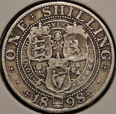 British Silver Shilling - 1898 - Queen Victoria - $1 Unlimited Shipping