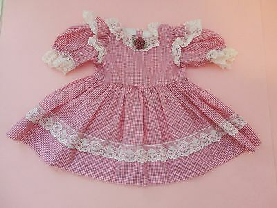 Prettiest Vintage Pink Gingham W Floral Ribbon Doll Dress