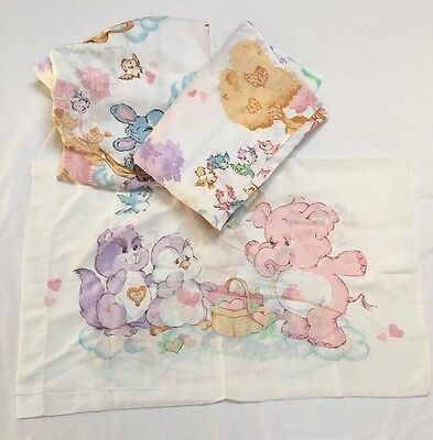 Vtg 1985 American Greetings Care Bears  Twin 3 Piece Set Flat Fitted Pillowcase