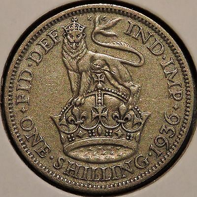 British Silver Shilling - 1936 - King George V - $1 Unlimited Shipping